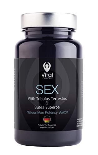 SEX - Naturaphrodisiac, Testosteron Booster Für Männer. Butea Superba, Tribulus Terrestris, Zink. 60 pflanzliche Kapseln, GVO- und glutenfrei.
