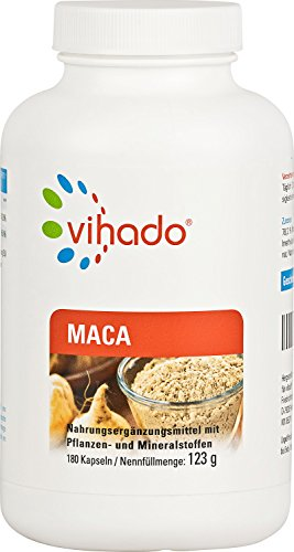 Vihado Maca Kapseln hochdosiert - Maca Tabletten mit bestem Maca-Pulver im Sparpaket, 180 Kapseln, 1er Pack (1 x 123 g)